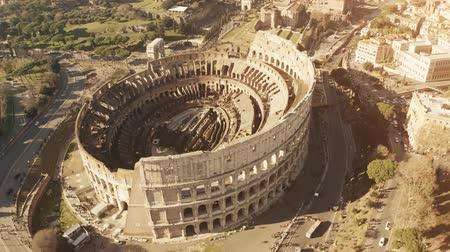 gladiatorial : Aerial view of Coliseum or Colosseum, famous ancient amphitheatre in Rome, Italy