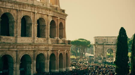 gladiatorial : Crowded square near famous Colosseum or Coliseum amphitheatre in Rome, Italy
