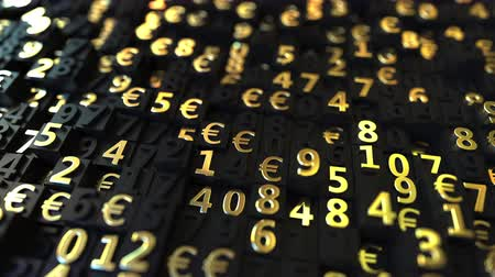 változatosság : Gold Euro EUR symbols and numbers on black plates, loopable 3D animation