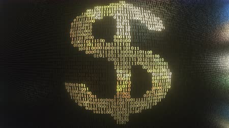 aritmética : US Dollar USD symbol made with gold binary numbers, loopable 3D animation Stock Footage