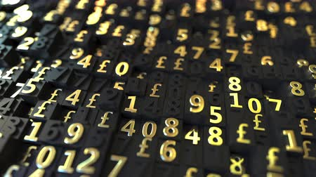 額 : Gold Pound Sterling GBP symbols and numbers on black plates, loopable 3D animation