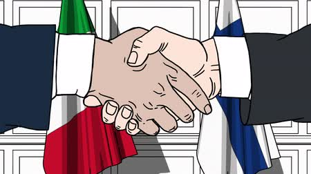 politicians : Businessmen or politicians shake hands against flags of Italy and Finland. Official meeting or cooperation related cartoon animation Stock Footage