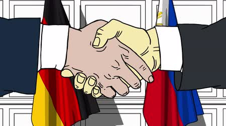 politicians : Businessmen or politicians shake hands against flags of Germany and Philippines. Official meeting or cooperation related cartoon animation