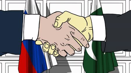 politicians : Businessmen or politicians shake hands against flags of Russia and Pakistan. Official meeting or cooperation related cartoon animation