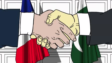 relações : Businessmen or politicians shake hands against flags of France and Pakistan. Official meeting or cooperation related cartoon animation