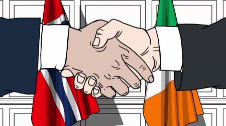 politicians : Businessmen or politicians shake hands against flags of Norway and Ireland. Official meeting or cooperation related cartoon animation