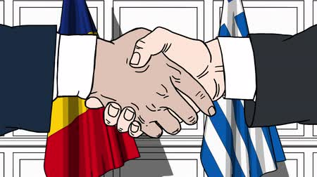 greece flag : Businessmen or politicians shake hands against flags of Romania and Greece. Official meeting or cooperation related cartoon animation Stock Footage