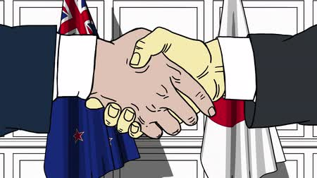 politicians : Businessmen or politicians shake hands against flags of New Zealand and Japan. Official meeting or cooperation related cartoon animation