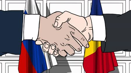 rumena : Businessmen or politicians shake hands against flags of Russia and Romania. Official meeting or cooperation related cartoon animation