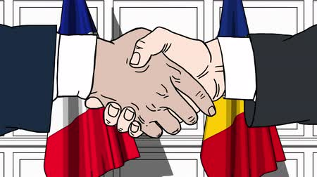treaty : Businessmen or politicians shake hands against flags of France and Romania. Official meeting or cooperation related cartoon animation