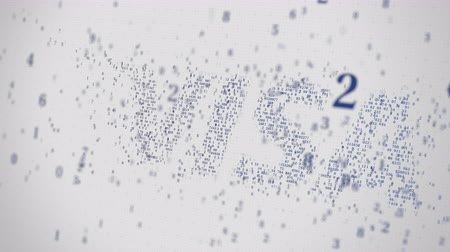 виза : Visa Inc. logo being made with many numbers. Digital business conceptual editorial animation Стоковые видеозаписи