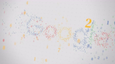 adatbázis : Google logo being made with many numbers. Digital business conceptual editorial animation