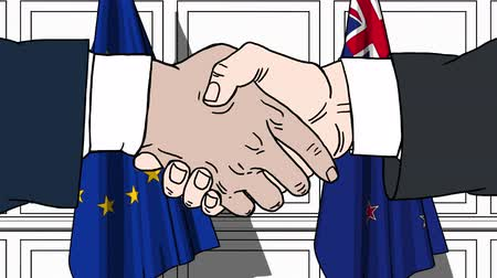 politicians : Businessmen or politicians shake hands against flags of the European Union EU and New Zealand. Official meeting or cooperation related cartoon animation