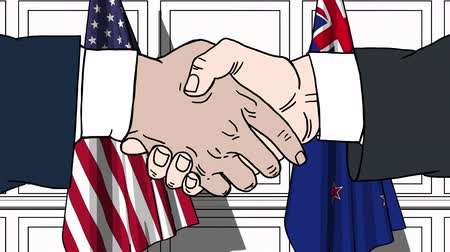nowa zelandia : Businessmen or politicians shake hands against flags of the USA and New Zealand. Official meeting or cooperation related cartoon animation