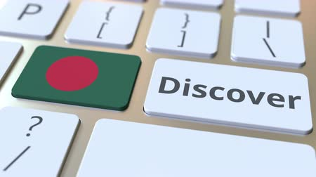 keşfetmek : DISCOVER text and flag of Bangladesh on the buttons on the computer keyboard. Conceptual 3D animation Stok Video