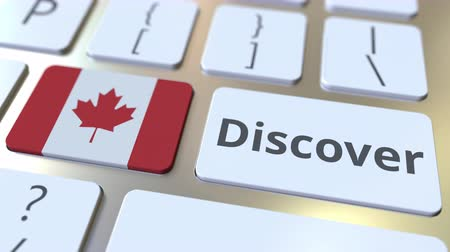 canadense : DISCOVER text and flag of Canada on the buttons on the computer keyboard. Conceptual 3D animation