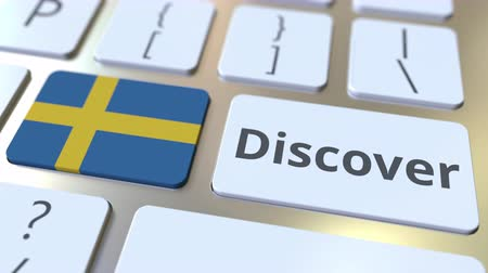 svéd : DISCOVER text and flag of Sweden on the buttons on the computer keyboard. Conceptual 3D animation Stock mozgókép