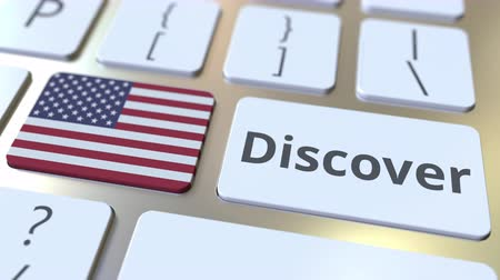 descobrir : DISCOVER text and flag of the United States on the buttons on the computer keyboard. Conceptual 3D animation