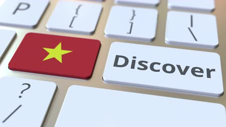 descobrir : DISCOVER text and flag of Vietnam on the buttons on the computer keyboard. Conceptual 3D animation