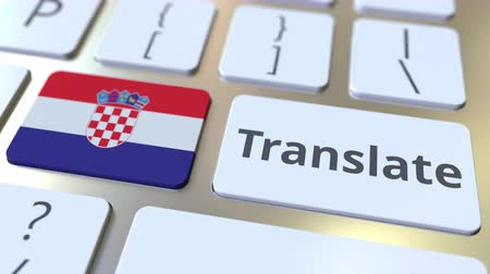 hırvat : TRANSLATE text and flag of Croatia on the buttons on the computer keyboard. Conceptual 3D animation Stok Video