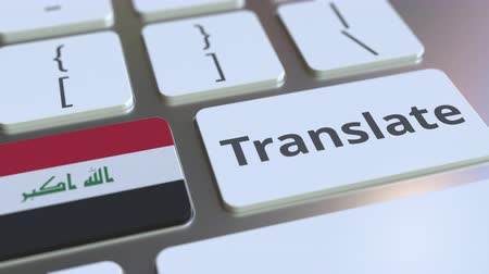 cizí : TRANSLATE text and flag of Iraq on the buttons on the computer keyboard. Conceptual 3D animation