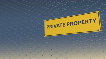 uyarı işareti : PRIVATE PROPERTY sign an a mesh wire fence against blue sky. 3D animation Stok Video