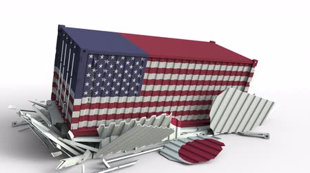 ithalat : Container with flag of the USA breaks cargo container with flag of Japan. Trade war or economic conflict related conceptual animation