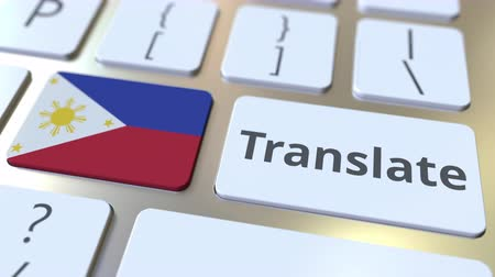 interprète : TRANSLATE text and flag of Philippines on the buttons on the computer keyboard. Conceptual 3D animation