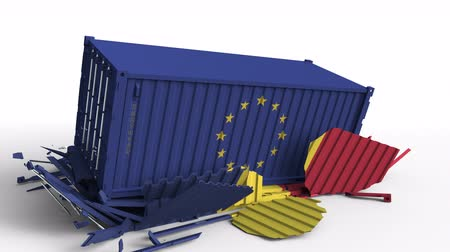 romeno : Container with flag of the European Union EU breaks cargo container with flag of Romania. Trade war or economic conflict related conceptual animation