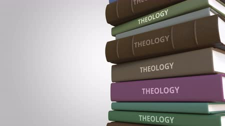 examinar : Pile of books on THEOLOGY, loopable 3D animation