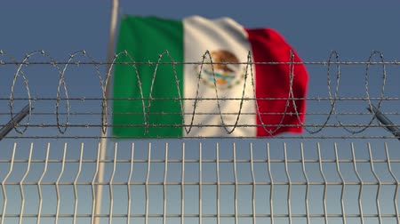 bariéra : Barbed wire against waving flag of Mexico. Loopable 3D animation