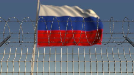 farpado : Blurred waving flag of Russia behind barbed wire fence. Loopable 3D animation