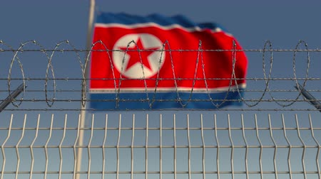 hapsedilme : Barbed wire against waving flag of North Korea. Loopable 3D animation