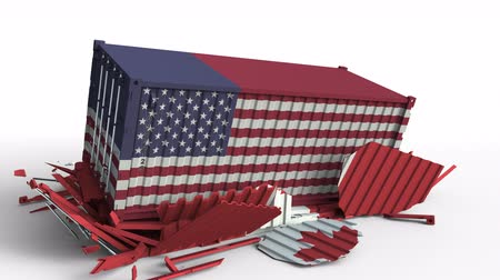 canadense : Container with flag of the USA breaks cargo container with flag of Canada. Trade war or economic conflict related conceptual animation