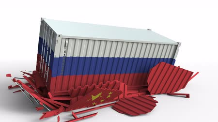 ithalat : Container with flag of Russia breaks cargo container with flag of China. Trade war or economic conflict related conceptual animation