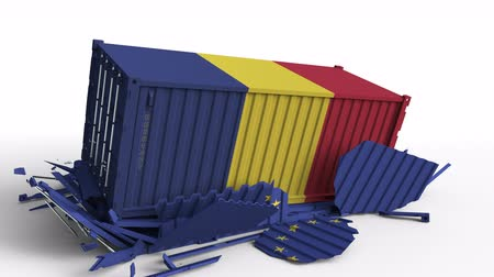 rumena : Container with flag of Romania breaks cargo container with flag of the European Union EU. Trade war or economic conflict related conceptual animation