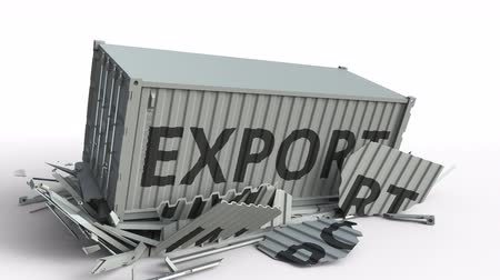 affect : Container with IMPORT text being broken by cargo container with EXPORT inscription. Conceptual 3D animation Stock Footage
