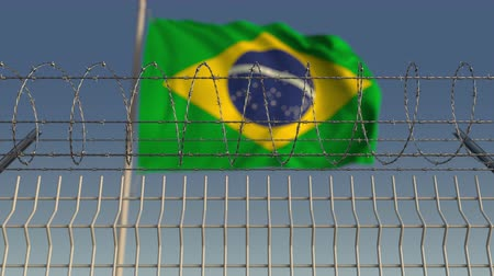 korlátozás : Barbed wire against waving flag of Brazil. Loopable 3D animation