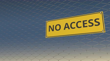 restringido : NO ACCESS sign an a mesh wire fence against blue sky. 3D animation