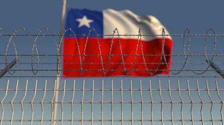 heg : Barbed wire against waving flag of Chile. Loopable 3D animation
