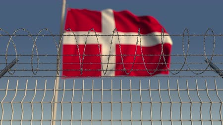 prikkeldraad : Blurred waving flag of Denmark behind barbed wire fence. Loopable 3D animation Stockvideo