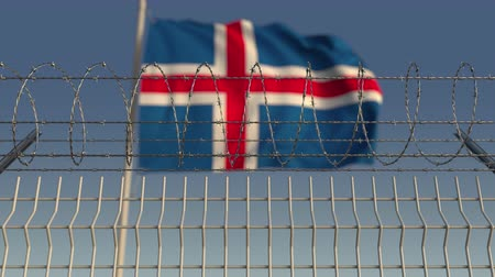 hapsedilme : Barbed wire against waving flag of Iceland. Loopable 3D animation