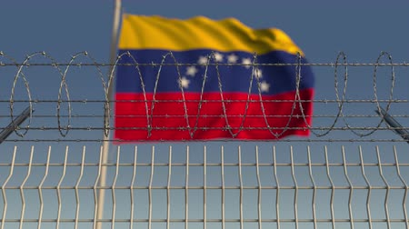 vazba : Barbed wire against waving flag of Venezuela. Loopable 3D animation
