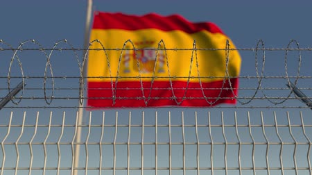 farpa : Barbed wire against waving flag of Spain. Loopable 3D animation