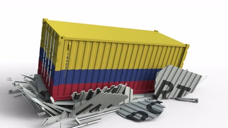 colômbia : Cargo container with flag of Colombia breaks container with IMPORT text. Conceptual 3D animation