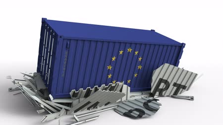 transporte de carga : Container with IMPORT text being crashed with container with flag of the EU, conceptual 3D animation