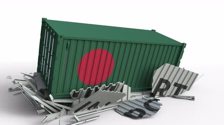 csattanás : Container with IMPORT text being crashed with container with flag of Bangladesh, conceptual 3D animation
