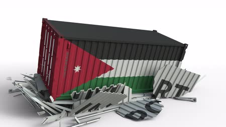 Иордания : Cargo container with flag of Jordan breaks container with IMPORT text. Conceptual 3D animation Стоковые видеозаписи