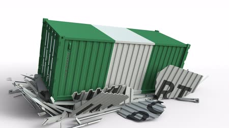 nigeria flag : Cargo container with flag of Nigeria breaks container with IMPORT text. Conceptual 3D animation Stock Footage