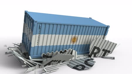 forwarding : Container with flag of Argentina breaking container with EXPORT text. Conceptual 3D animation